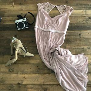 David's Bridal blush Bridesmaid dress